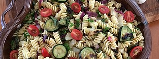 This tasty, easy-to-make pasta salad is high in flavor and low in salt.